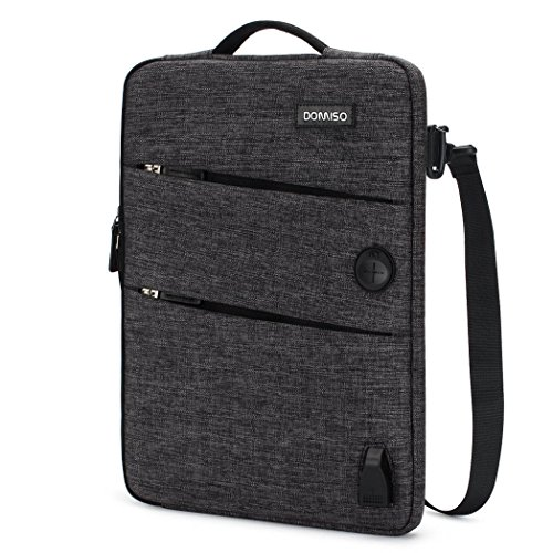DOMISO 14 Inch Waterproof Laptop Sleeve Canvas with USB Charging Port Headphone Hole for 14' Laptops/Apple/Acer Chromebook 14 / HP Pavilion 14 Stream 14 / Lenovo/Dell/ASUS/MSI, Black