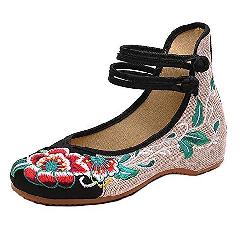 BININBOX Women Chinese Embroidered Flower Flat Bridal Mary Jane Ballet Shoes(8.5 B(M) US,Black)