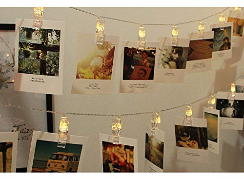 20 LED Photo Clips String Light for Party Bedroom Wedding, Warm White