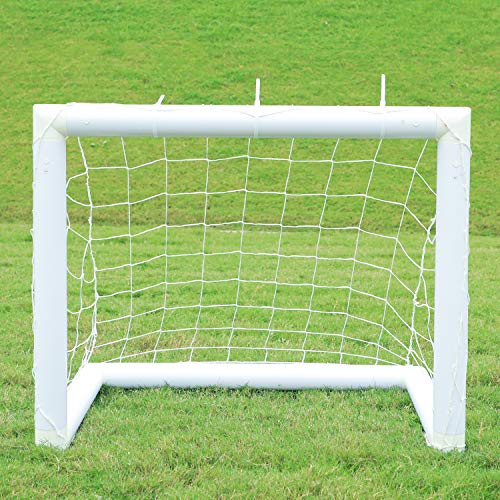 Football Goal Portable Soccer Goal, Football Net with Locking System, Weatherproof PVC Goal Posts with Nylon Net and Pegs, Indoor Outdoor Football Training Equipment for Kids Adults, 3 x 2.5ft