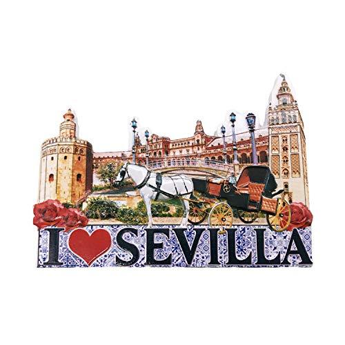 3D Sevilla Sevilla España Imán de Nevera Viajes turísticos Recuerdos Hecho a Mano Resina Artesanía Magneticos Hogar Cocina Decoración Colección Regalo