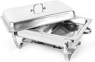 OUKANING 7,5 Liter 2 Chafing Dish Chauffe-Plat en Acier Inoxydable,Fonction Maintien au Chaud, Gris métal pour Jardin Camping