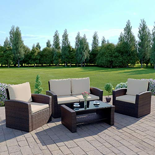 Rattan Garden Furniture Sofa Set Patio Conservatory New Wicker Weave Furniture Patio Conservatory 2 or 3 Seater Sofa (Brown with Light Cushions, Algarve 2+1+1)