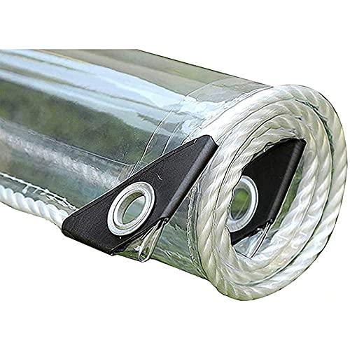 Lona de vinilo transparente, lona de polietileno transparente, al desgarro y al clima frío con arandelas, para invernadero de plantas, techo de conejera para mascotas,Transparent_1.4x2.5m/4.2x7.5ft