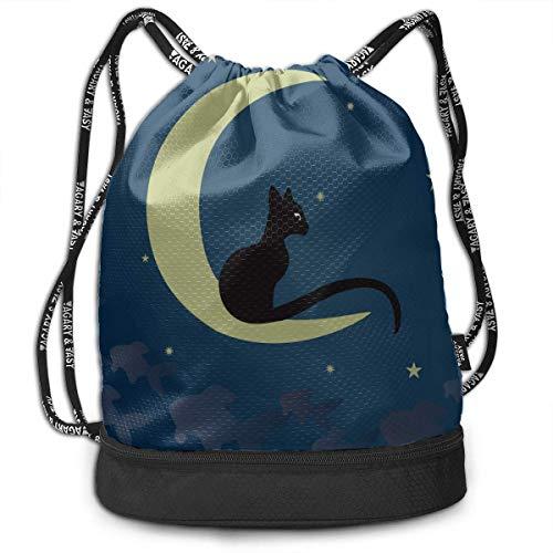 OKIJH Mochila Mochila de ocio Mochila con cordón Mochila multifuncional Bolsa de gimnasio Womens Gym Drawstring Bag Cat Love Moon Cartoon Gym Drawstring Bags Backpack Sports String Bundle Backpack For