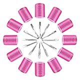 Hair Curlers Rollers, Gikasa 24Pcs Jumbo Big Hair Rollers Set Hair Curlers Self Grip Holding Rollers with Stainless Steel Duckbill Clips for Long Medium Short Thick Fine Thin Hair Bangs Volume