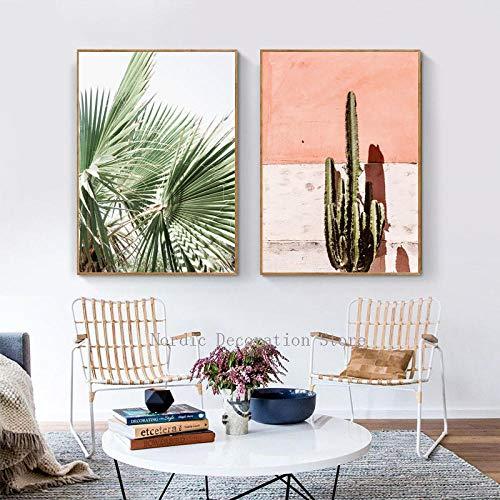 Hintergrund rosa und grün Kaktus Poster Blatt Gemälde für Wohnzimmer Wandkunst Zweiteilige Poster und Drucke Gemälde 40x60cmx2 ohne Rahmen