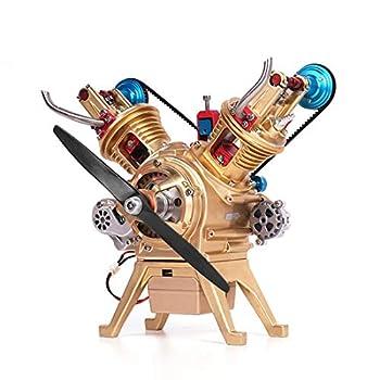 XSHION Full Metal Engine Model V2 Double-Cylinder Stirling Engine DIY Assembly Car Engine Model Building Kit Desk Engine STEM Toy for Adults Kids
