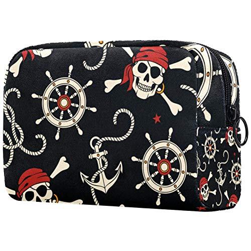 Trousse de toilette portable pour femme avec motif de pirates