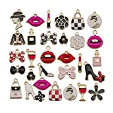 WOCRAFT 50pcs Gold Plated Enamel Women Makeup Lip Lipstick Perfume Purse High Heels Bow Charms Pendant for Jewelry Making Necklace Bracelet Earring DIY Jewelry Charms (M432)