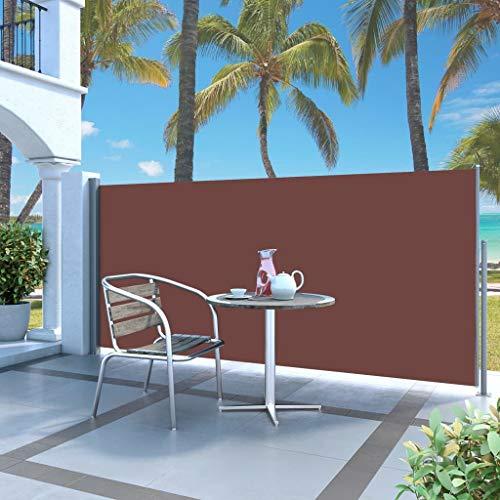 Festnight Ausziehbare Seitenmarkise Sichtschutz Sonnenschut Windschutz für Balkon & Terrasse 120 x 300 cm Braun