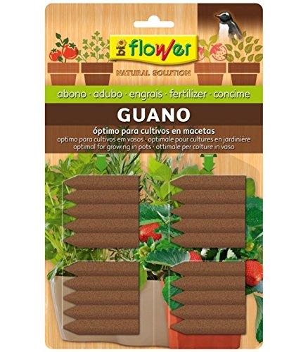Flower ABONO Clavos Guano 20U BIOFLOWER, Único