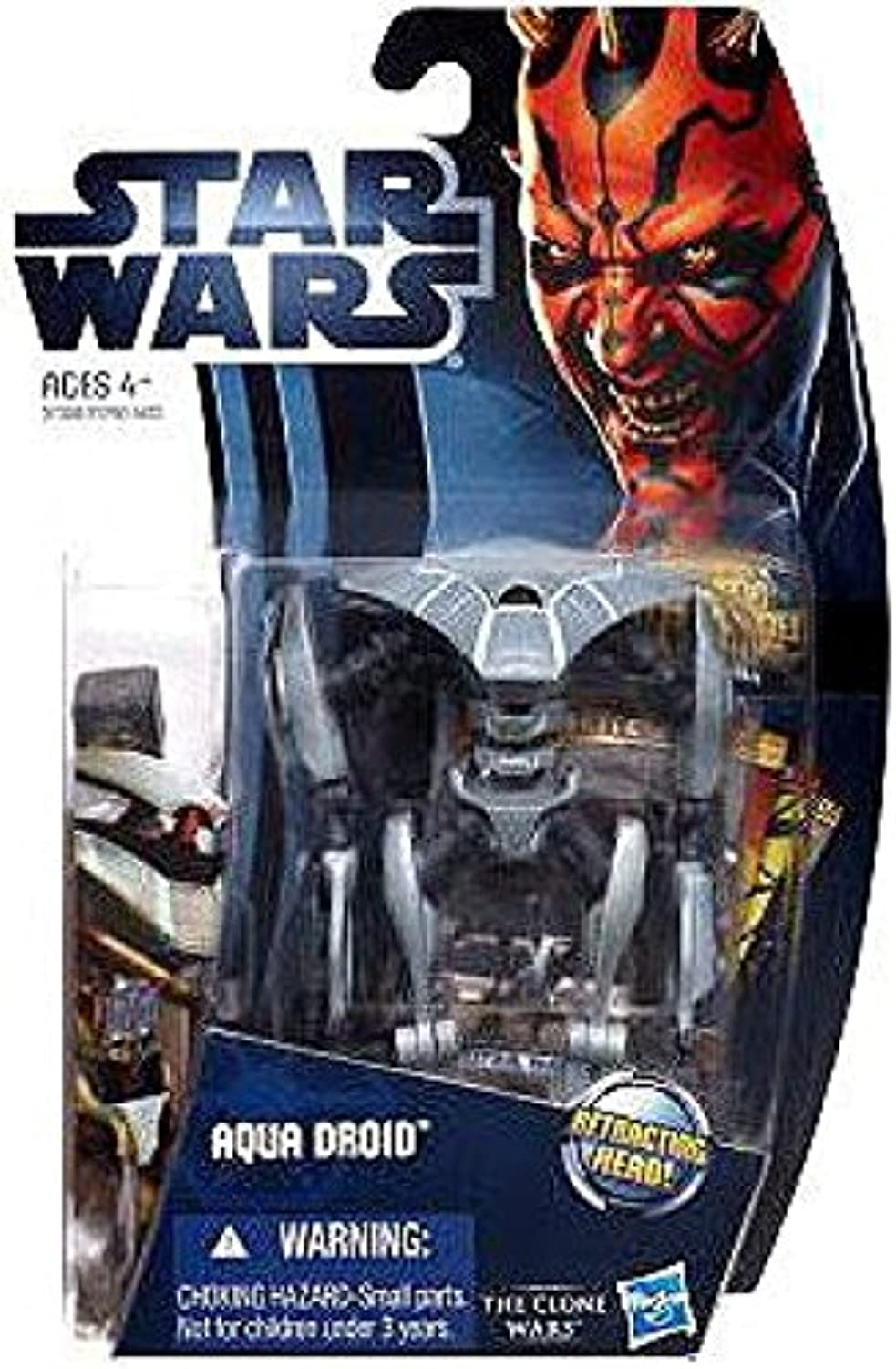 Hasbro Year 2012 Star Wars The Clone Wars Galactic Battle Game Series 4 Inch Tall Action Figure - CW10 AQUA DROID with Retracting Head, Battle Game Card, Die and Figure Display Base