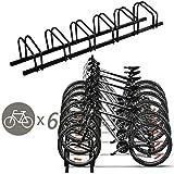 Goplus 6 Bike Rack Bicycle Stand Cycling Rack Parking Garage Storage Organizer, Black