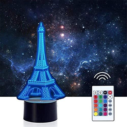 Torre Eiffel 3D Luz de noche, lámpara de ilusiones con mando a distancia 16 multicolor USB carga LED lámpara de escritorio decoración para niños Navidad Halloween cumpleaños