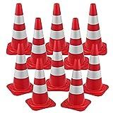 pro.tec Lot de 10 Cônes de Signalisation Réfléchissants pour Balisage Routier Chantiers Zone Dangeureuse Plots Emboîtables Polyéthylène 50 x 29 x 29 cm Rouge Blanc