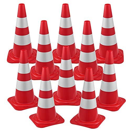 Pro Tec Lot de 10 Cônes de Signalisation Réfléchissants pour Balisage Routier Chantiers Zone Dangeureuse Plots Emboîtables Polyéthylène 50 x 29 x 29 cm Rouge Blanc