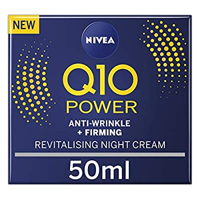 NIVEA Q10 Power Anti-Wrinkle + Firming Night Cream (50ml), Anti Ageing Cream + Creatine & Q10, Nightly Moisturiser for Women, Reduce Appearance of Wrinkles