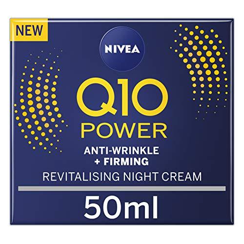 NIVEA Q10 Power Crème de nuit raffermissante anti-âge + créatine & Q10 hydratant nuit pour femme Réduit l'apparence des rides (50 ml)