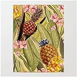 Decoración para el hogar Pintura en lienzo Imágenes de hojas verdes Arte de la pared Impresiones en HD Flores rosas Póster de piña Sin marco para sala de estar-60x90 cm x1 Sin marco