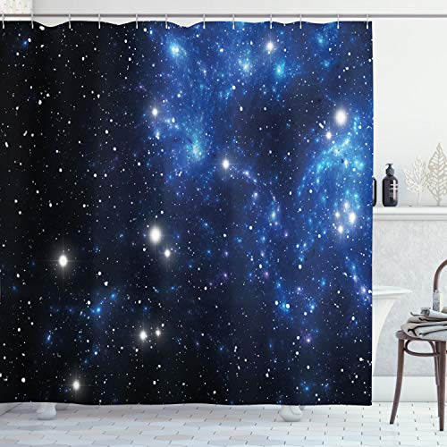 Ambesonne Constellation Shower Curtain, Outer Space Star Nebula Astral Cluster Astronomy Theme Galaxy Mystery, Cloth Fabric Bathroom Decor Set with Hooks, 70