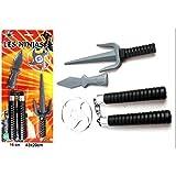Ninja Assassin XXL-Set Samurai Katana Säbel Schwert Shuriken Kunai Kinder Spielzeug-Waffen Karneval Fasching Halloween Kostüm Verkleidung -