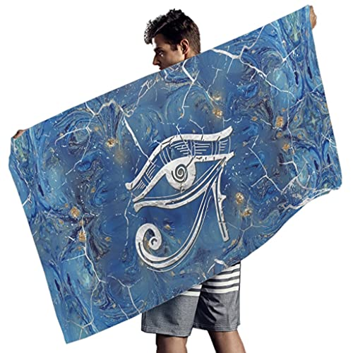 Raainhao Toalla de playa egipcia ojo de Horus gran tamaño a prueba de arena toalla de playa para yoga Lindo microfibra poliéster blanco 59x30 pulgadas
