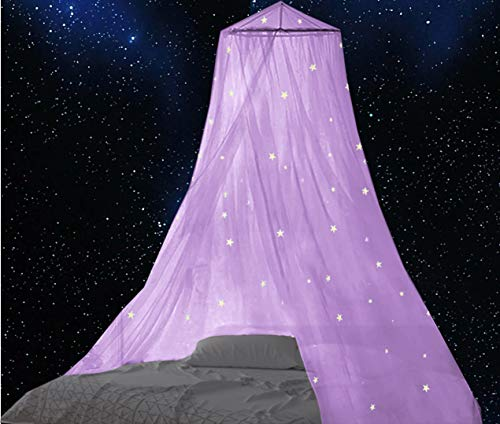 BCBYou Bed Canopy with Fluorescent Stars Glow in Dark for Baby, Kids, Girls Or Adults, Anti Mosquito As Mosquito Net Use to Cover The Baby Crib, Kid Bed, Girls Bed Or Full Size Bed (Purple)