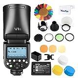 Godox V1-S TTL Rundkopfkamera Blitzlicht Speedlight mit Godox AK-R1 Zubehör-Kit für Sony Kamera, 2.4G HSS Speedlite mit 2600mAh Li-Ion Akku 1,5 Sek. Recyclingzeit für Sony DSLR-Kamer