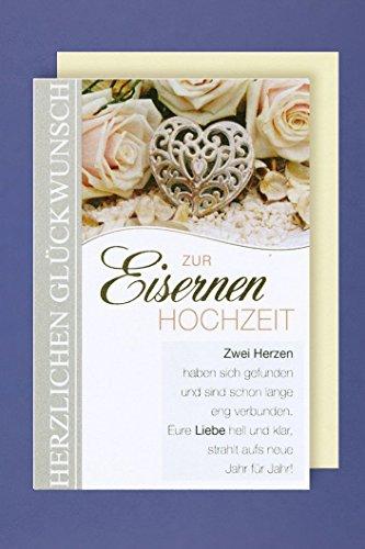 Eiserne Hochzeit 65. Hochzeitstag Grußkarte Zwei Herzen haben Sich gefunden 16x11cm Plus 3 Sticker