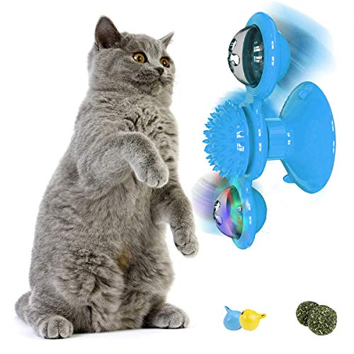 YWAOOH Windmill Cat Toy for Indoor Cats Interactive Turntable Teasing Cat Toy with Suction Cup Catnip Catnip Ball and LED Ball Funny Kitten Massage Scratching Tickle Toy – Blue