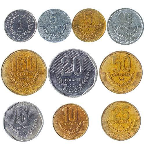 10 Alte Münzen Von Republik Von Costa Rica in Mittelamerika. Sammelbare Münzen Costa Rica Colón. Perfekte Wahl Für Ihre Spardose, Münze Inhaber Und Münzenalbum