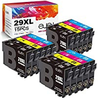 ejet Reemplazo para Epson 29 29XL para Epson Expression Home XP-342 XP-245 XP-442 XP-235 XP-335 XP-432 XP-435 XP-332 XP-345 XP-247 XP-445 (6 Negro, 3 Cian, 3 Magenta, 3 Amarillo, Paquete de 15)