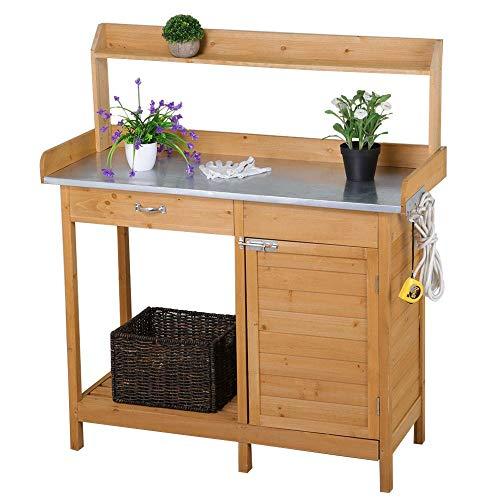 Topeakmart Outdoor Potting Bench Work Station Garden Planting with Cabinet & Drawer & Top Shelf & Lower Shelf