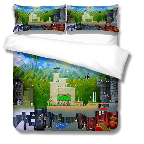 UDUVOG Duvet Cover Super King 260X240 Cm Cartoon Game Pattern Quilt Cover Pattern Easy-Care Super Soft And Ultra-Fine Fiber Bedding, Zipper Opening And Closing, With 2 Pillowcases 50X75 Cm