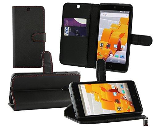 Emartbuy® Wileyfox Swift 2 Plus/Wileyfox Swift 2 Wallet Etui Hülle Case Cover aus PU Leder mit Kreditkartenfächern - Schwarz (Rot Stitching)