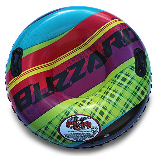 Flexible Flyer Blizzard Heavy Duty Snow & Water Tube Inflatable Sled. Round Slider & Pool Float,...