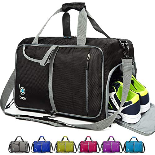 Bago Gym Bags For Women and Men - Small Packable Sports Duffle Bag For Women with Shoe Compartment and Wet Pocket ( 40 Liter Black )