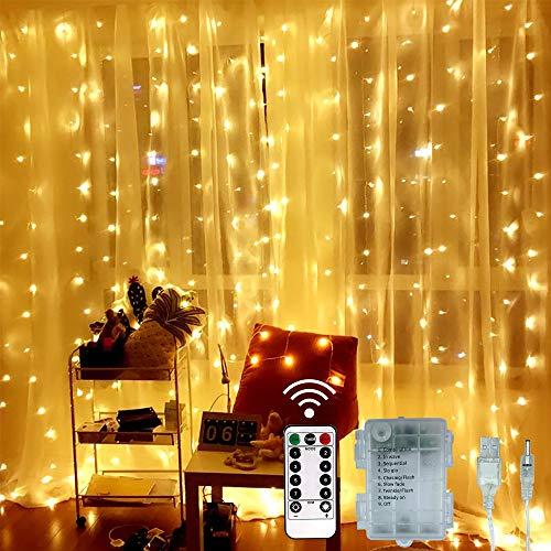 SYTUAM Lichtervorhang USB Batterie 3 * 3m Lichterketten Vorhang 300 LEDs Warmweiß, Lichterkette 8 Modi Dimmbare für Außen Innen Deko Schlafzimmer, Partydekoration, Weihnachten, Hochzeit