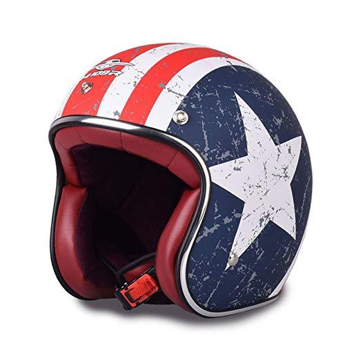MYSdd Motorradhelm Retro Open Face Retro Motorrad Roller Motocyklowy Helm Dies ist EIN sehr Leichter Helm mit einem Retro-Design mit 3 Spikes - CXM