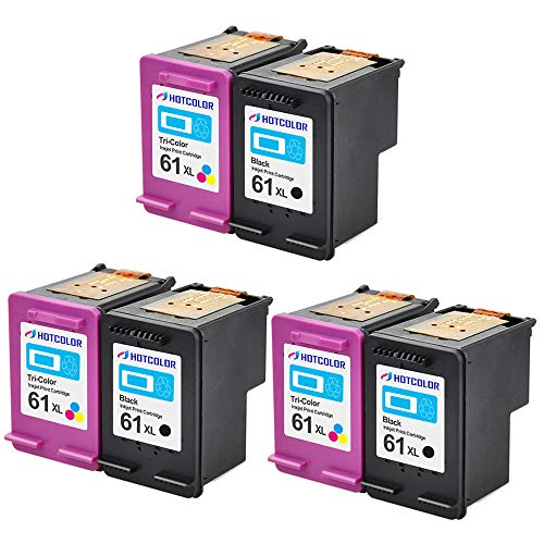 HOTCOLOR 61 61 XL 61XL Black & Color CH563WN CH564WN Ink Cartridges High Yield for HP Officejet 2620 2621 4630 4632 4635 Printer 6-Pack