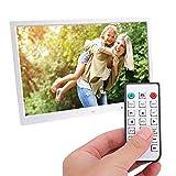 Marco de fotos digital de 17 pulgadas Pantalla LED portátil Reproductor de fotos/música/video Alarma de calendario Temporizador de encendido/apagado automático, Reproductor de películas HDMI(Blanco)
