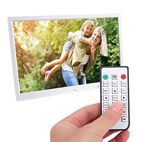 Marco de fotos digital, Marco de fotos digital HDMI LED de 17 pulgadas, Reproductor de películas de álbum electrónico portátil, con botón táctil, Control remoto por infrarrojos, 110V-240V(Blanco)