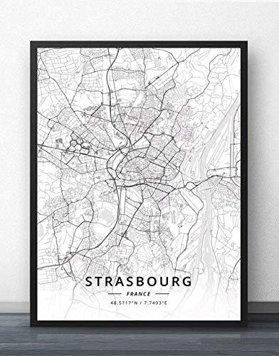 ZWXDMY Leinwand Bild,Frankreich Straßburg Stadtplan Schwarze Und Weiße Minimalistische Text Abstrakten Drucken Leinwand Poster Malerei Wandbild Studie Cafe Office Home Einrichtung, 20 × 30 cm