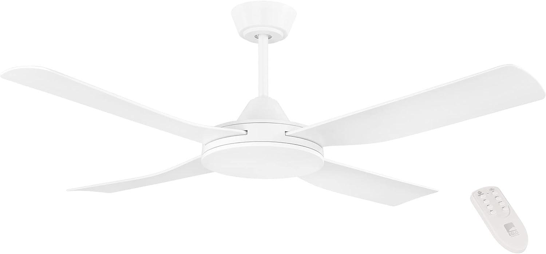 EGLO Ventilador de Techo Bondi 1, Ventilador de 4 Aspas con Mando a Distancia, Temporizador, Plástico ABS de Calidad (Anti-UV) en Blanco Mate, Motor AC, 122 cm