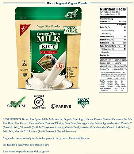 Better Than Milk Vegan Rice Milk Powder, Original Flavor, 21.4 oz. Pouches, 6-Pack (07854)