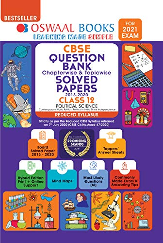 Oswaal CBSE Question Bank Class 12 Political Science Chapterwise & Topicwise Solved Papers (Reduced Syllabus) (For 2021 Exam)