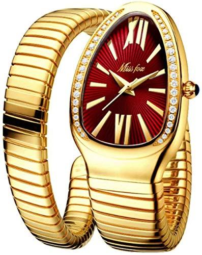 Reloj de mujer de moda personalidad cabeza de serpiente pulsera acero inoxidable diamante serpiente reloj rojo dorado