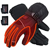 CHEROO Electric Heated Gloves Rechargeable Battery Powered Hand Warmer Gloves Indoor Outdoor Winter Cycling Motorcycle Hiking Skiing Mountaineering Men Women (Black, L)