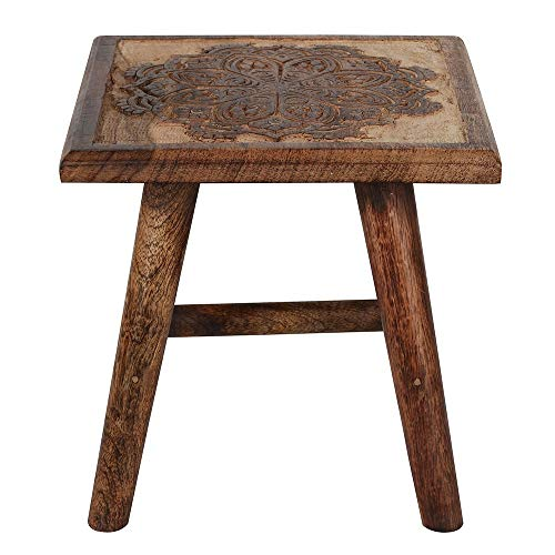 Kids Hand Carved Mango Wood Wooden Stool Chair Seat